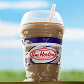 Tim Hortons Iced Capp with a straw